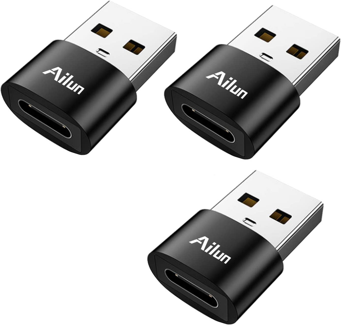 Ailun USB C Female to USB A Male Adapter 3 Pack Type C to A Charger Cable Adapter for iPhone 11 12 Mini Pro Max Galaxy Note 10 S20 Plus 20 S21 21 FE Ultra