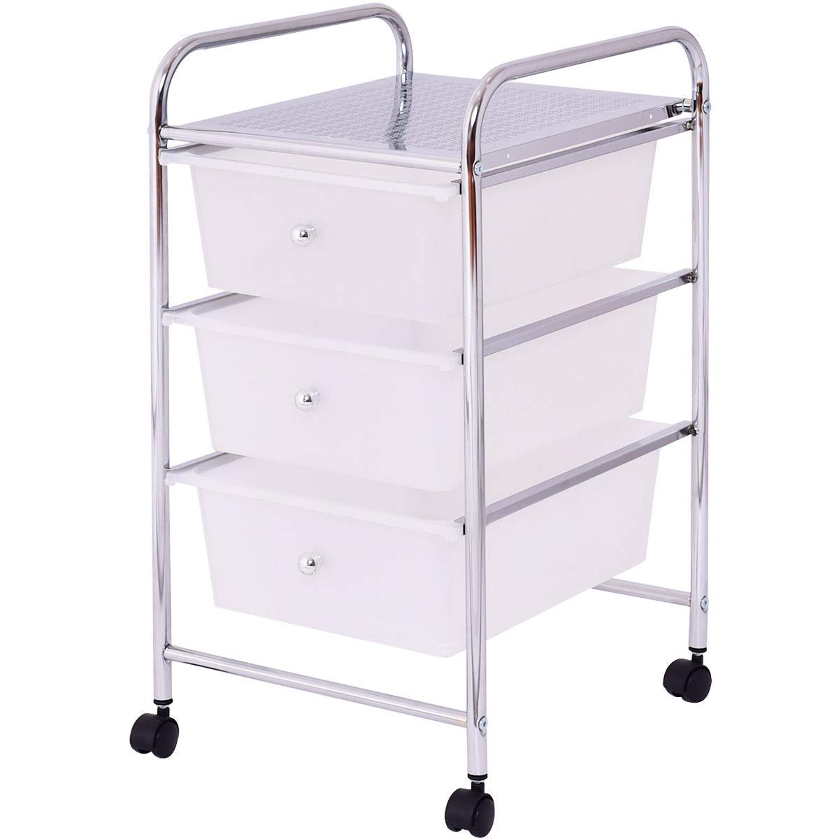 USA_Best_Seller 3 Drawers New White Metal Rolling Storage Cart Home Office Dining Room Storage Organizer Stylish Mobile Drawers Sturdy Steel Frame Storing Products Books Linen Display