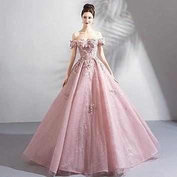 TY-ER Vestido de Novia de Color Rosa Piso de Longitud Vestido sin Tirantes de