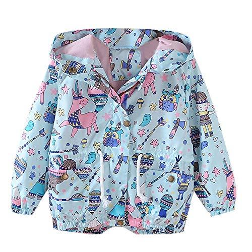 iYBUIA Spring Autumn Children Kid Boys Girls Cartoon Graffiti Print Trench Jacket Outwear Coat(Blue,110)