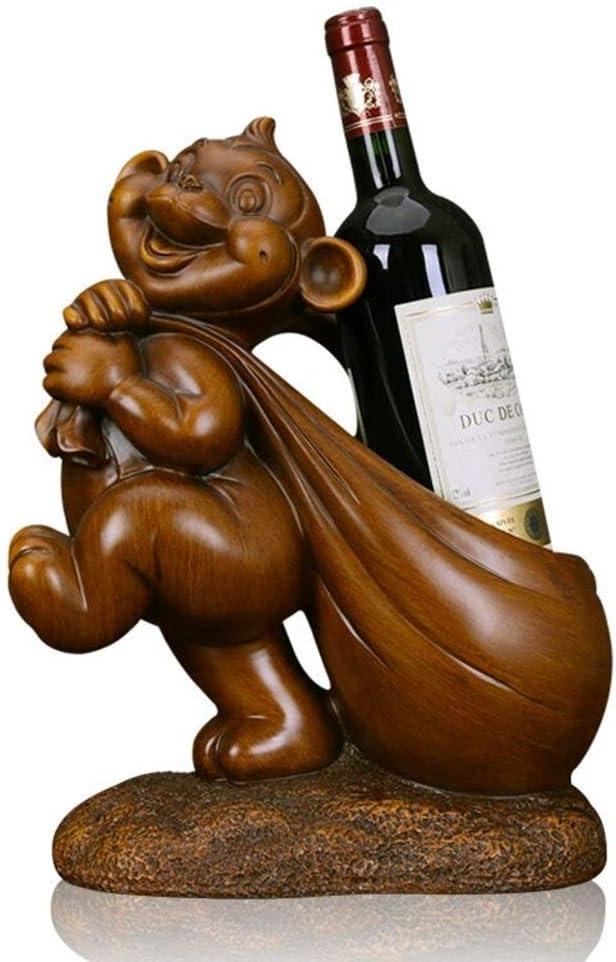 ワインラック・ホルダー ホームデコレーションデコレーションクリエイティブワインラックの装飾のためのワインボトルホルダーアニマル置物に最適 ワインストレージ 家飾り (Color : Brown, Size : One size)