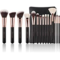 Docolor 15Pcs Makeup Brush Set Natural Goat Hair with Bag