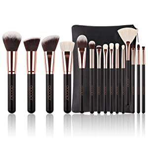 Docolor Makeup Brushes 15 Piece Makeup Brushes Set Premium Synthetic Goat Hairs Kabuki Brushes Foundation Blending Blush Face Eyeliner Shadow Brow Concealer Lip Cosmetic Brushes Kit with Cosmetic Bag