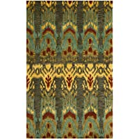 Safavieh Ikat Collection IKT464B Handmade Olive and Gold Premium Wool Area Rug (4 x 6)