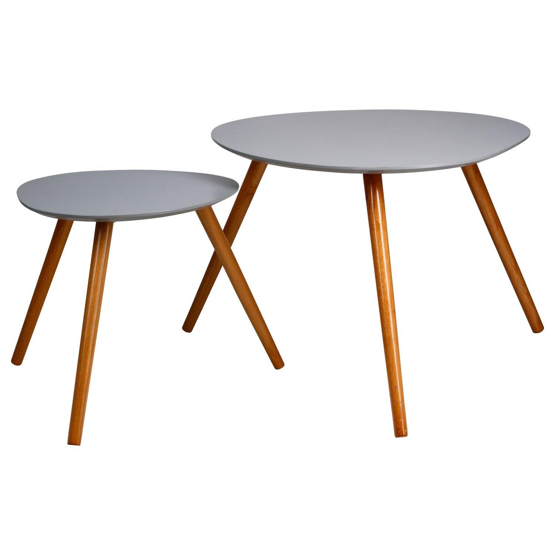 Set di 2 tavolini sovrapponibili, perfetti in ogni stanza della vostra casa - Colore GRIGIO CHIARO ATMOSPHERA