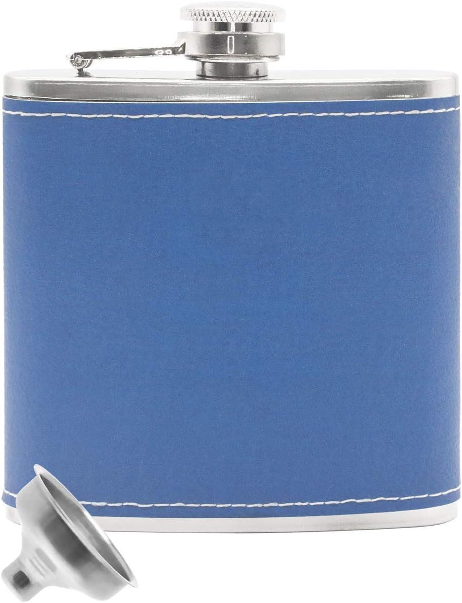 Outdoor Saxx® – Petaca de Acero Inoxidable, diseño de Piel Noble, Bolsa para el Pecho, Botella de Bolsillo, Embudo de llenado, Regalo Ideal, 175 ml, Color Azul
