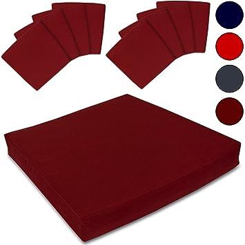 8 Housses de siège coussins de chaise - Bordeaux - Pour salon de jardin 8-1