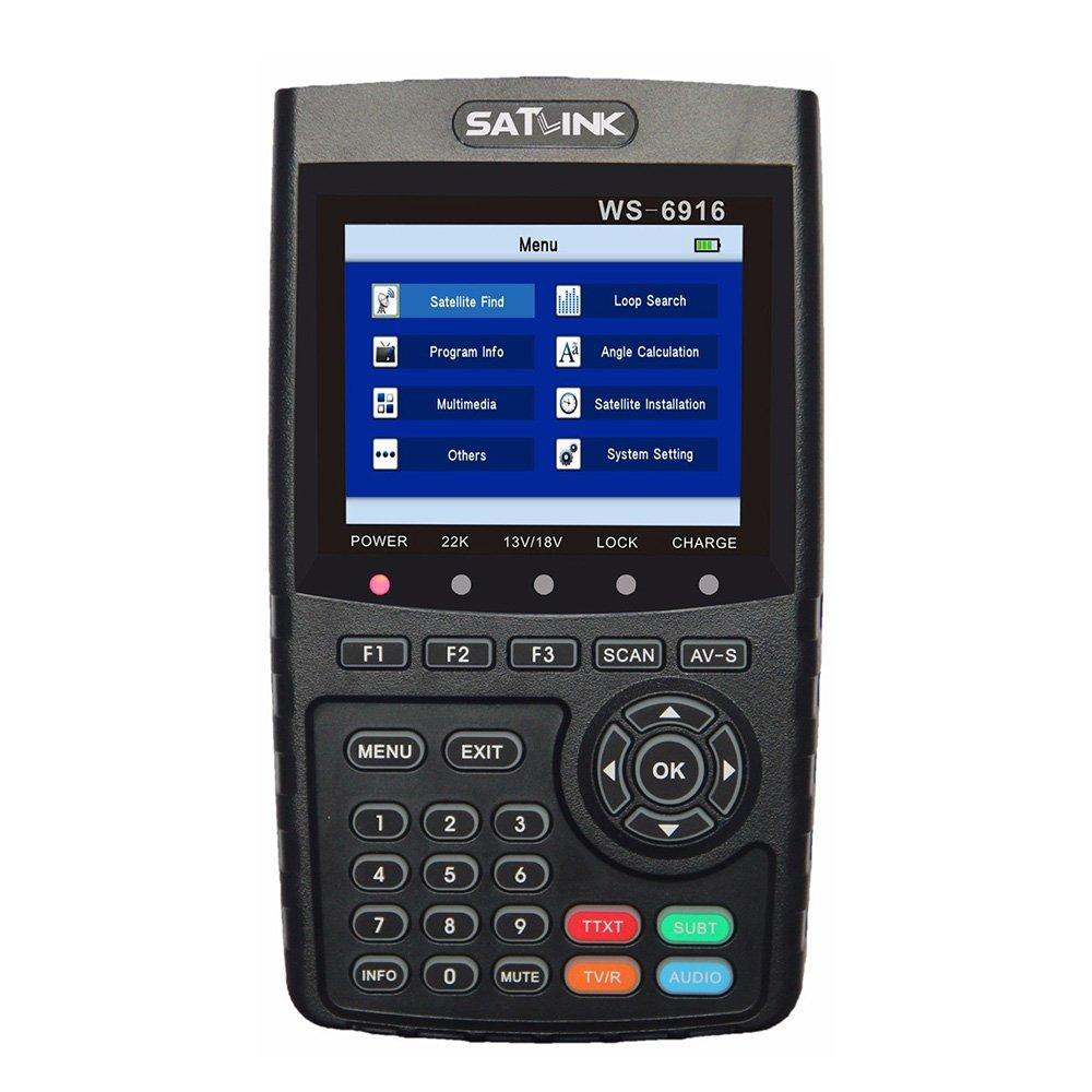 SATLINK WS-6916 DVB-S/S2 HD Digital Satellite TV Finder with MPEG-2/MPEG-4, Digital Satellite Signal Finder Meter, Black by SATLINK