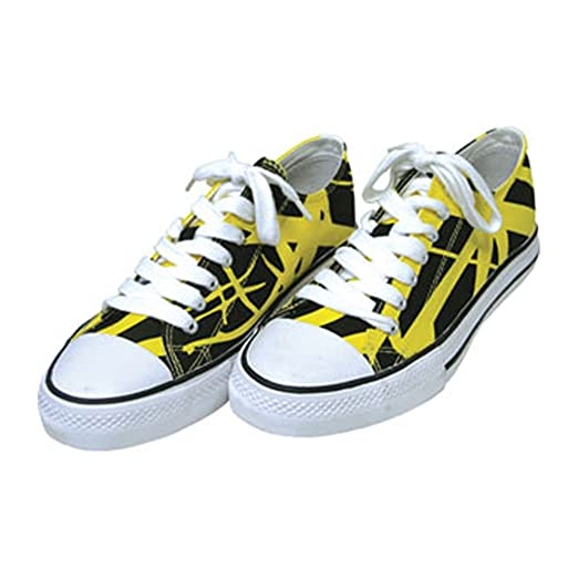 7e2690a4b7bdd0 Image Unavailable. Image not available for. Color  Eddie Van Halen EVH  Yellow Black White Combo Low Top Sneaker ...