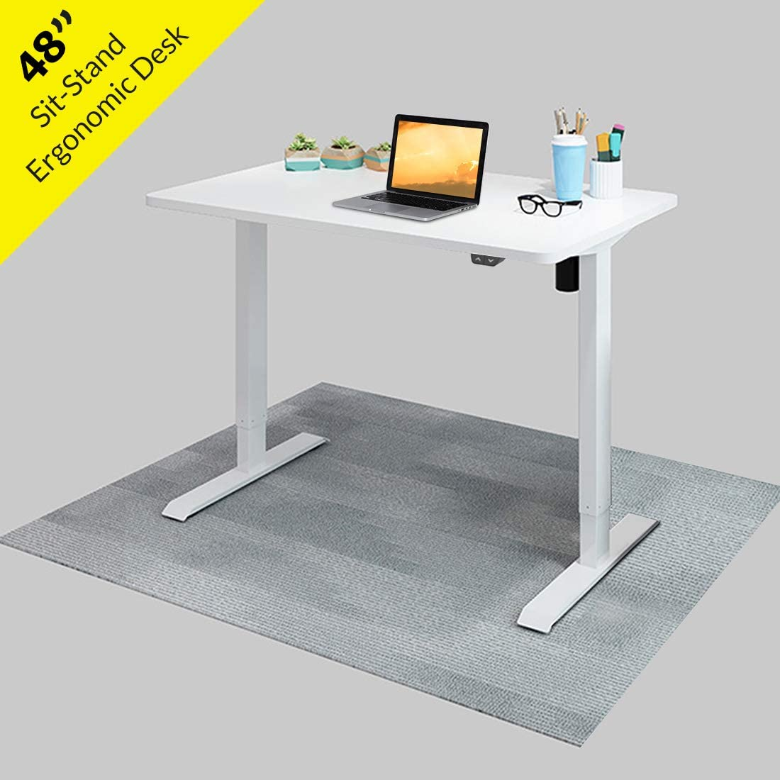 "Electric Height Adjustable Standing Desk 48"" Sit Stand Up Computer Desk Workstation for Home Office (White Frame/White Desktop, 48 x 30 inch)"