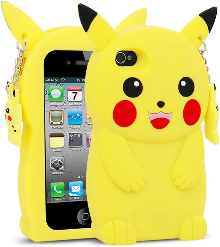 for iPhone 4 Case, iPhone 4S Case, BEFOSSON 3D Cartoon Cute Kawaii Funny Pokemon Yellow Pikachu Soft Silicone Rubber Phone Cover Case for iPhone 4 / 4S for Girls Boys Teens Kids (4.0 inches)