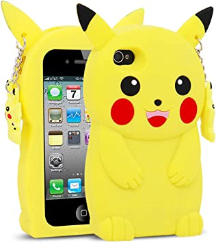 for iPhone 4 Case, iPhone 4S Case, BEFOSSON 3D Cartoon Cute Kawaii Funny Pokemon Yellow Pikachu Soft Silicone Rubber Phone Cover Case for iPhone 4 / ...