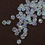 glass and crystal beads - Clear ab Exquisite Glass Crystal 4mm 1000pcs Bicone Beads loose beads