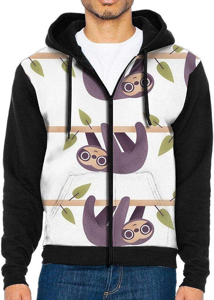H.F.K.S Sloth Mens Full-Zip Hooded Fleece Sweatshirt