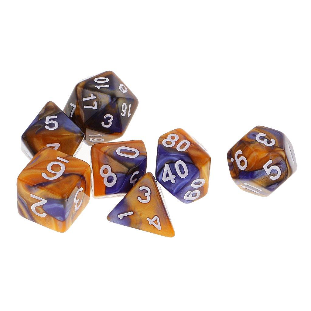 Sharplace 7pcs/Set Jeux de Dés Conique Polyédrique ( D4, D6, D8, D10, D12, D20 ) Magie en Plastique Double-couleur pour Donjons/ Dragons / MTG/ RPG/ Jeu de Rôle - Bleu Jaune