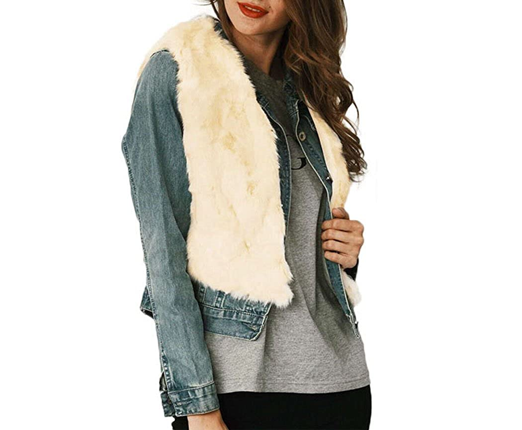 XWDA Faux Fur Vest Women Sleeveless Coat Jacket Winter Warm Short Waistcoat Outerwear 1161