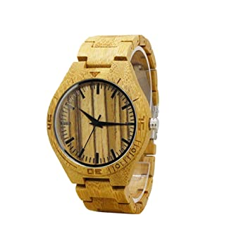Relojes de madera hombre - Dxlta Madera Creativo Correa de madera completa, Hecho a mano, Casual Reloj de pulsera: Amazon.es: Relojes