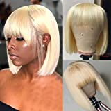 Bob Wigs Brazilian Straight Human Hair Wigs with Bangs 100% Remy Human Hair Wigs 150% Density None Lace Front Wigs…