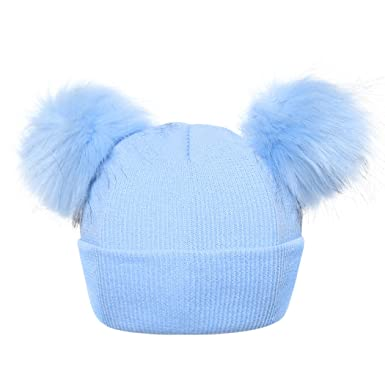 2a49bb01e4d FUNOC Beanie Hat Faux Fur Pom Poms Warm Winter Hat Knit Hat For Cute Baby  Kids Girls  Amazon.co.uk  Clothing
