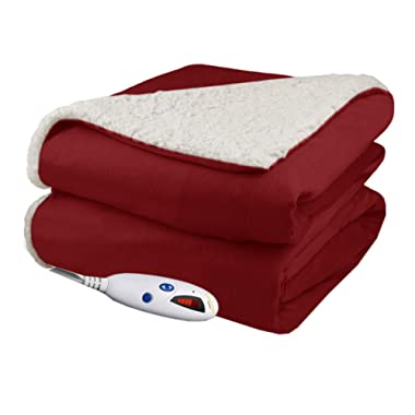 Pure Warmth Throw Electric Heated Throw Blanket Brick with Natural Sherpa