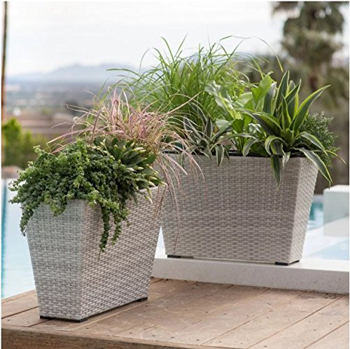 - Outdoor Clermont 2 Piece Aluminum, Wicker Rectangle Planter - White