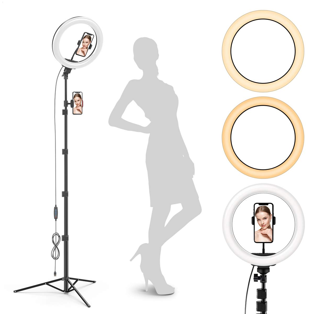 """Radiance 10"""" Ring Light with Tripod Stand (74"""" Tall) - Dual Phone Holders, 3 Lighting, Selfie Circle LED Lights Ringlight for Video Recording, Conference, Makeup, iPhone, Laptop, Computer, Webcam"""