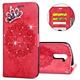 IKASEFU LG K7 Case,3D Clear Crown Rhinestone Diamond Bling Glitter Wallet with Card Holder Emboss Mandala Floral Pu Leather Magnetic Flip Case Protective Cover for LG K7,Red