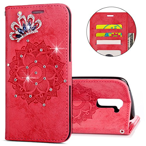 IKASEFU LG K7 Case,3D Clear Crown Rhinestone Diamond Bling Glitter Wallet with Card Holder Emboss Mandala Floral Pu Leather Magnetic Flip Case Protective Cover for LG K7,Red by IKASEFU (Image #5)
