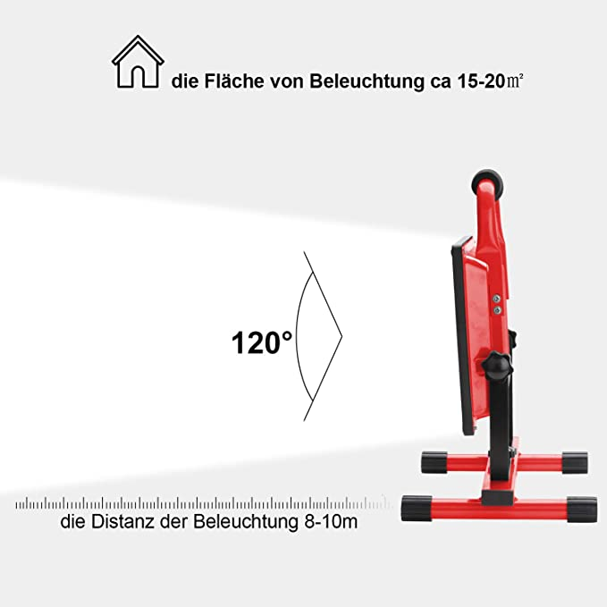 Hengda Akku LED 30W Warmwei/ß Fluter Mit Teleskop-Stativ Baustrahler Arbeitsleuchte Werkstattlampen Campinglaterne