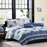 Intelligent Design Cassy Comforter Set Full/Queen Size - Blue, White, Damask – 5 Piece Bed Sets – Ultra Soft Microfiber Teen Bedding for Girls Bedroom