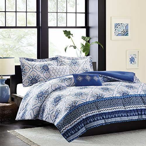 Intelligent Design Cassy Comforter Set Full/Queen Size - Blue, White, Damask – 5 Piece Bed Sets – Ultra Soft Microfiber Teen Bedding for Girls Bedroom by Intelligent Design