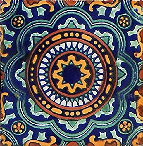 6 Mexican Talavera Tiles Hand Painted 6''x6'' Stairs Backsplash by COLOR Y TRADICIÓN