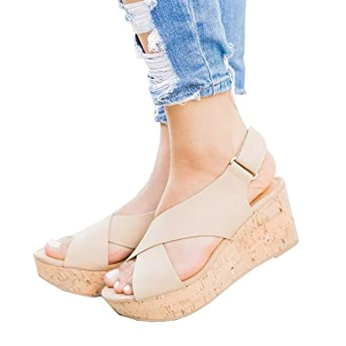 6dbba8ac8 Women Sandals Wedges Peep Toe PU Belt Buckle Rivet Blocking Hook-Loop  Fashion Wedges Sandals