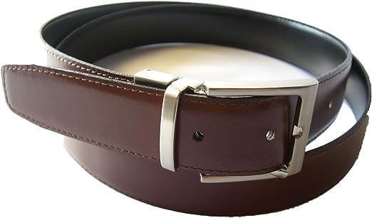 100 /% PIEL Cinturon de Cuero Reversible Color Negro y Marron