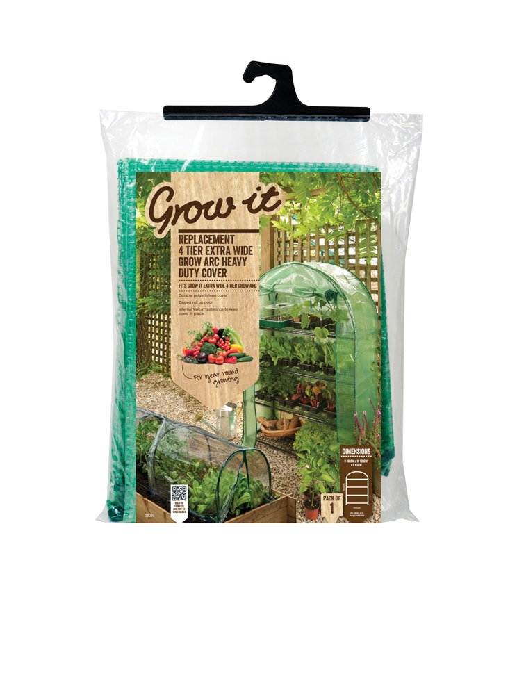 Grow It 08974 45 x 105 x 160 cm Replacement 4-Tier Extra Wide Grow Arc Heavy Duty Cover - Green Gardman Ltd