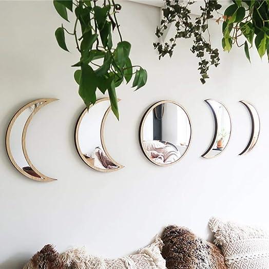Ussuma Wooden Decorative Mirror Moon Phase Mirror Bedroom Acrylic Mirror Wall Decoration, Diameter 26.5cm