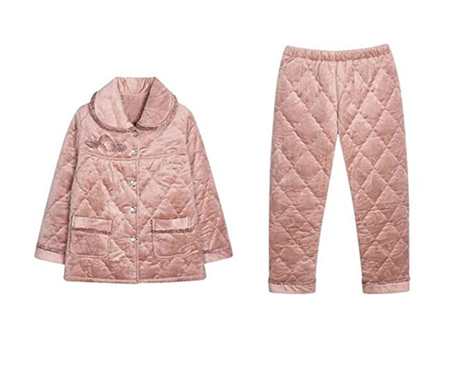 Pijamas De Las Mujeres Otoño E Invierno Pijamas De Algodón Acolchado De Dos Piezas Traje De