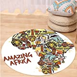 VROSELV Custom carpetAfrican Decorations Collection Africa Map with Native Objects and Icons Tribal Mask and Mammals Graphic Travel Theme Bedroom Living Room Dorm Multi Round 79 inches