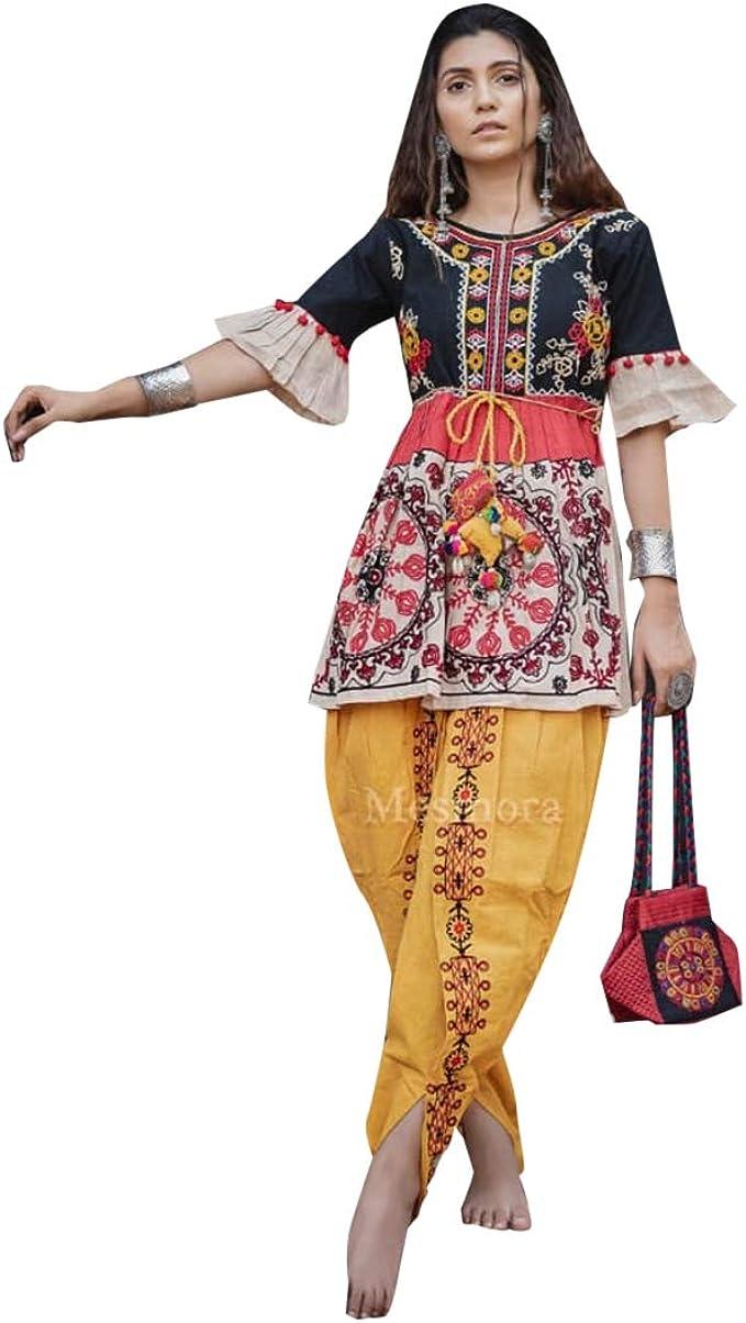 Amazon Com Gujarati Dandiya Night Khadi Cotton Kedia Dress Tulip Pant Indian Women Festive Dance Costume Wear Readymade 8563 Clothing