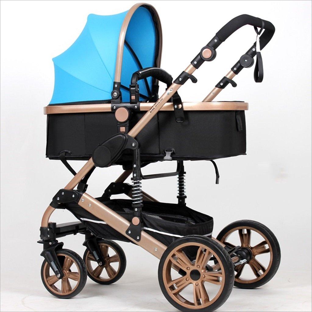 新生児の赤ちゃんキャリッジ折りたたみ可能な座って、1ヶ月のためのダンピングの赤ちゃんカートに落ちることができます 3歳の赤ちゃんの双方向四輪ベビートロリーを振るのを避ける (色 : 青) B07DVBPJP1 青 青