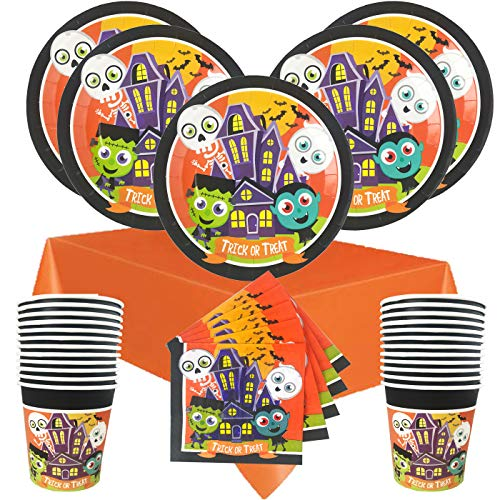 Halloween Party Supplies Disposable Tableware Bundle - Plates, Napkins, Cups, Table Cover - Monster Mash (Serves 24) -
