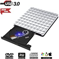 Externa Grabador DVD, Lector Unidad DVD Portátil USB 3.0 CD RW Row Rewriter Burner para Macbook OS con Windows PC