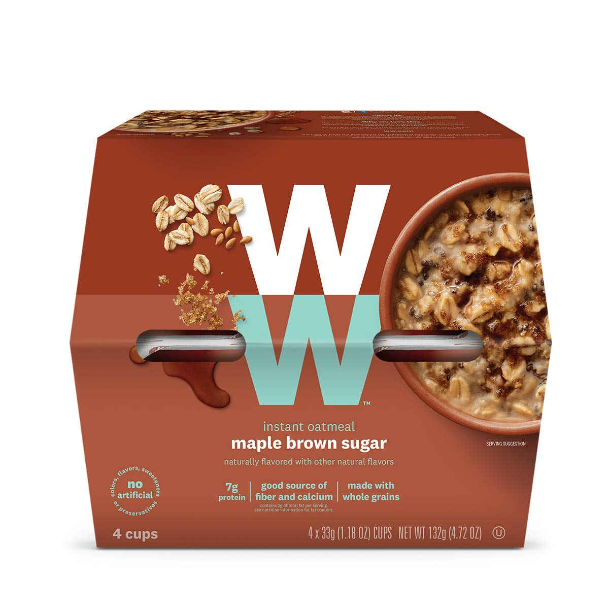 WW Maple Brown Sugar Instant Oatmeal - 3 SmartPoints - 1 Box (4 Count) - Weight Watchers Reimagined