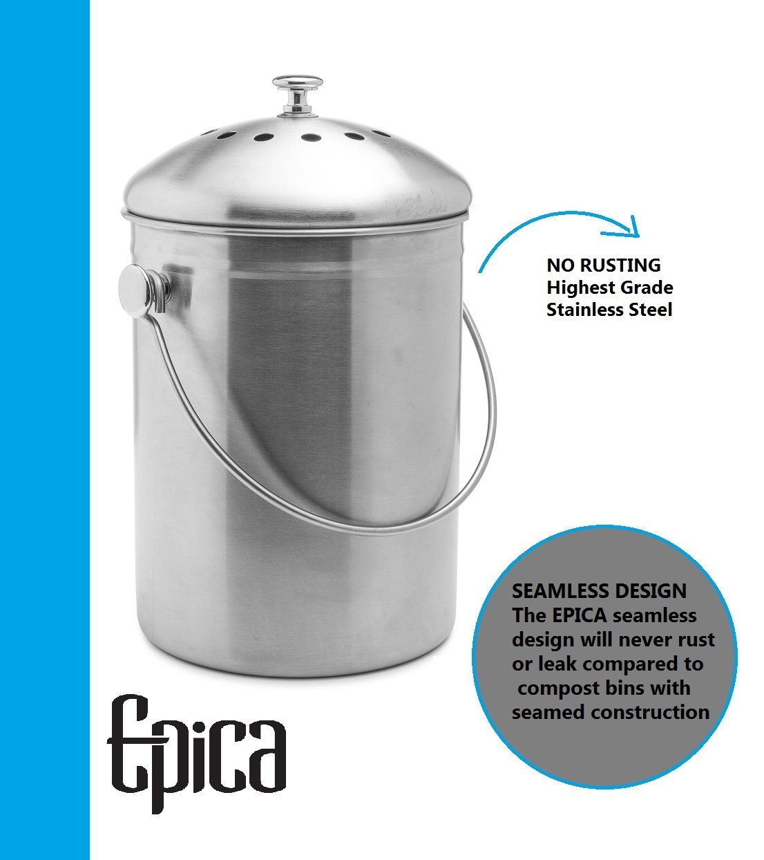 Amazon.com: Top Rated Epica Stainless Steel Compost Bin 1.3 Gallon Includes  Charcoal Filter: Home U0026 Kitchen