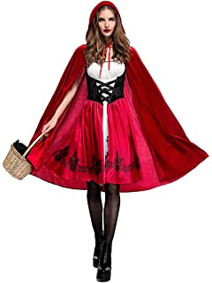 33fb78fffe2 Women Little Red Riding Hood Costume Christmas Halloween Party Dress with  Cape