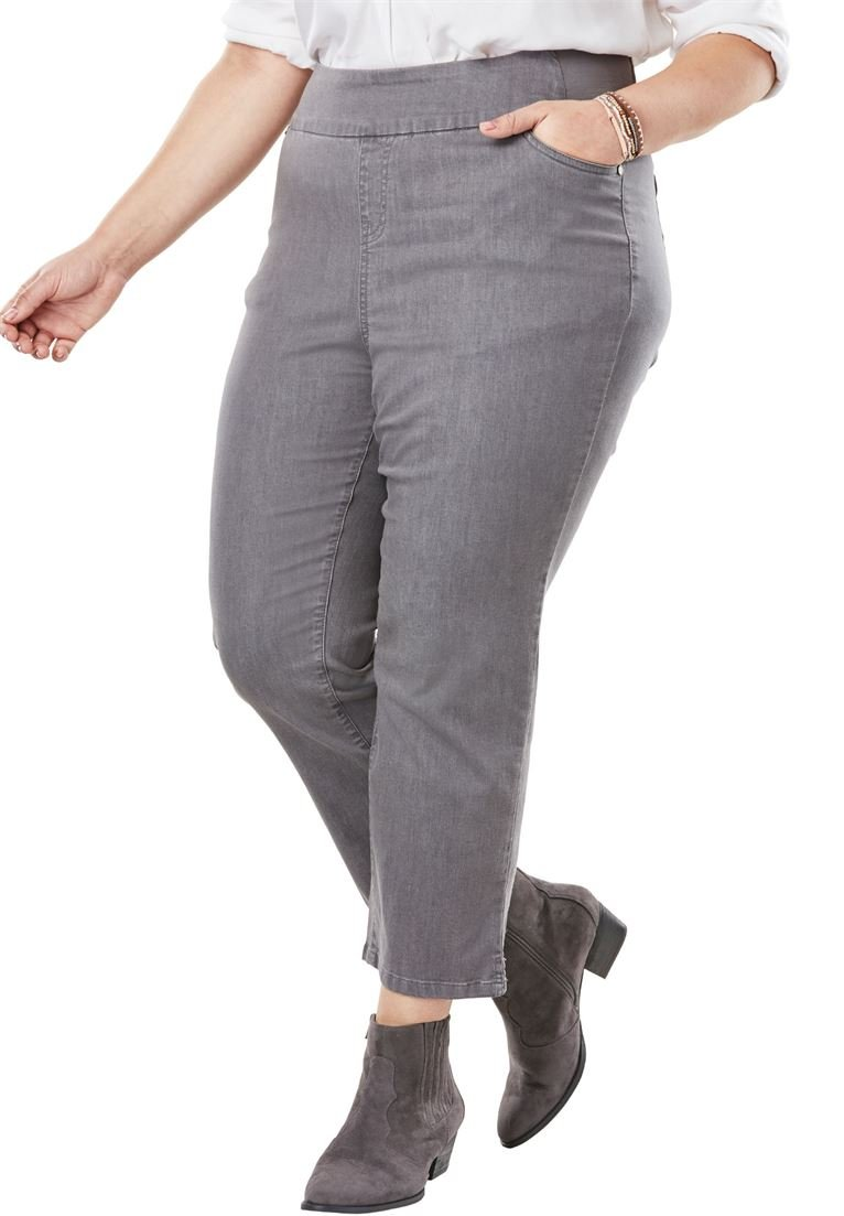Woman Within Women's Plus Size Smooth Waist Capri Jean