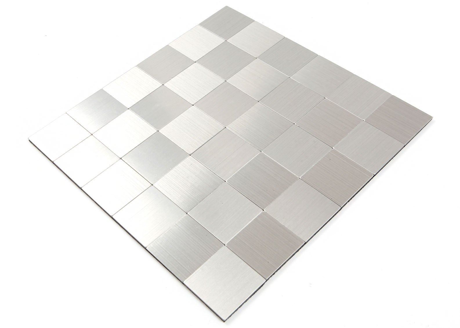 ROSEROSA Peel and Stick Tile Metal Backsplash for Kitchen, Wall Tiles Aluminum Surface : Pack of 5 (Metal-301)