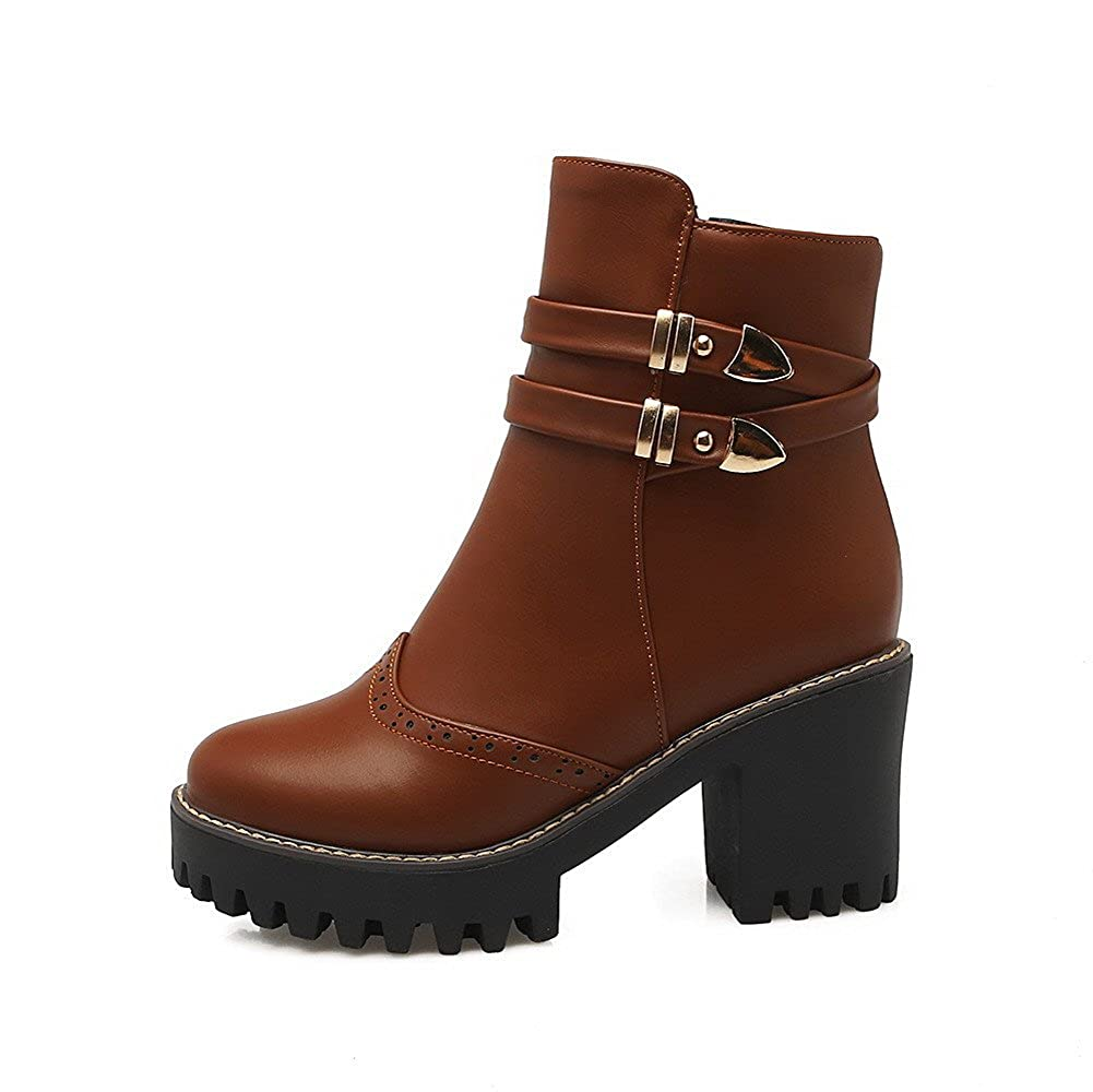 WeiPoot Women's Zipper High-Heels PU Solid Low-Top Boots B01N1SKHIL Boots Boots B01N1SKHIL 7d01b5