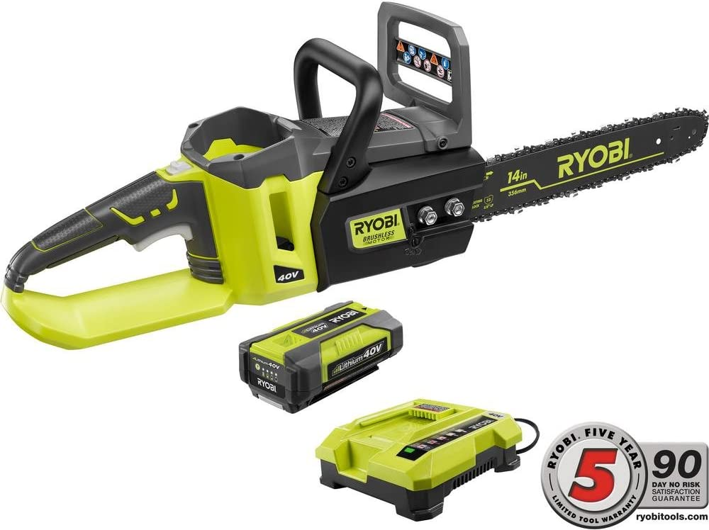 Ryobi Chainsaw 12 in 18V L-Ion Cordless Brushless Compact 4.0 Ah Battery Charger