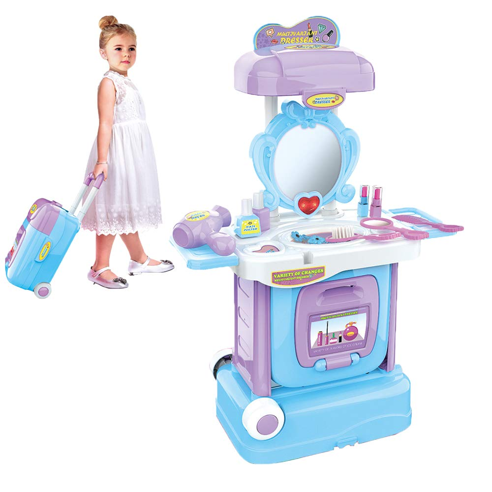 Leadmall Pretend Play Beauty Set | 2-in-1 Vanity Table Toy with Makeup Accessories,Mirror & Hair Dryer |Kids Folding Case Dress Up Kit Travel Playset Gift for Girls (Blue Dressing Table) by Leadmall